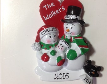 Personalized Christmas Ornament Snowman Couple Proud New Parents With Dog/ Cat Pet Baby's First Christmas, Family of three, New Family