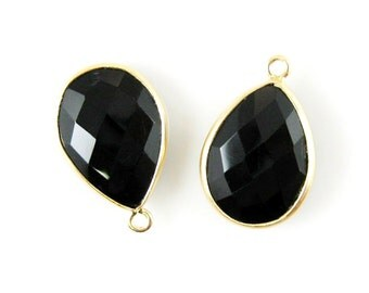Bezel Gemstone Pendant-Black Onyx-Faceted Teardrop Charm-Gold Plated Vermeil Frame-Jewelry Charms and Pendants-22mm- Sku: 201101-BON-(1 pc)