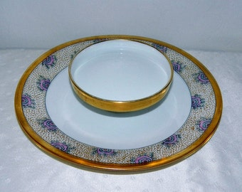 Antique T&V Limoges France Tiered Serving Plate - Tressemann and Vogt - Artist Signed