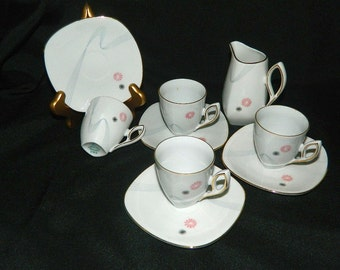 Antique Mitterteich Porcelain Demitasse Cups and Saucers - Creamer - Circa 1931-1945 - Bavaria Germany