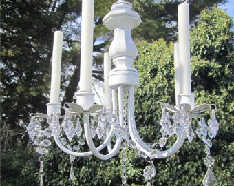 WHITE CHANDELIER CANDLE Holder -Oak,  5 Arm  Satin White with Acrylic Crystals/Indoors or Outdoors