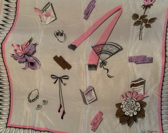 Pink and Black on White Playbill Vintage CECIL CHAPMAN Silk Scarf