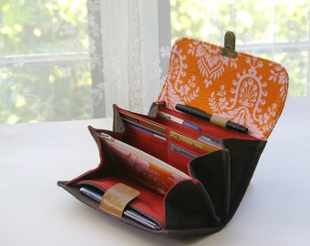 Smartphone wallet clutch - medium/ wallets for women warm brown orange pink colors travel wallets long art meets fashion case- READY TO SHIP