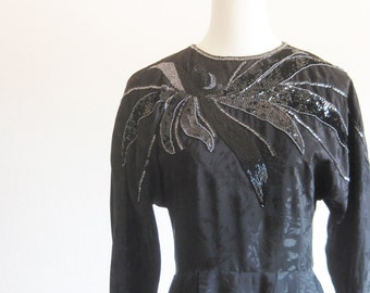 Vintage 1980s Black Silk Dress Beaded Long Sleeve Small S Beads Sparkle Floral Grunge Glam Rocker 80s Eighties Ruched Retro
