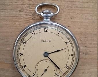 25% OFF ON SALE Pocket watch vintage pocket watch Molnija