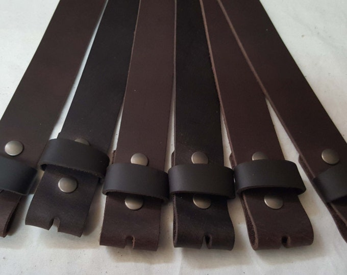 """Dark Brown Buffalo Leather Belts with Snaps for Suits or Jeans Made to Measure - Custom Cut Leather Snap Belts 1.5"""" or 1.25"""" for Adults /Kid"""