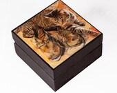 Vincent Van Gogh Decorative Cat Art Keepsake Box, Tabby Cat, Wood, Cat Gift Box, Cat Artwork, Deborah Julian