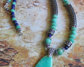 Chrysoprase Lapis Sterling Necklace -- Genuine Chrysoprase and Lapis Gemstones Natural with Sterling bali beads