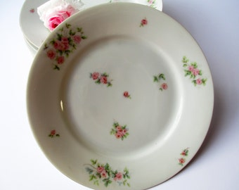 Vintage Epiag Royal Pink Rose Salad Plates Set of Six