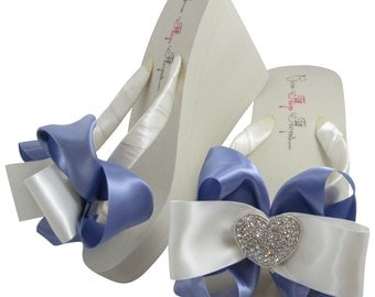Bridal Flip Flops, Bridesmaid Flip Flops for the Wedding with Rhinestone Bling Heart Bows, thong sandals, Tropic Lilac
