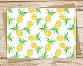 pineapple note card set . pineapples notecards . tropical fruit . blank cards . folded stationery . stationary . set of 6