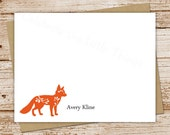 fox note cards, notecards . personalized stationery . FLAT stationary . set of 10