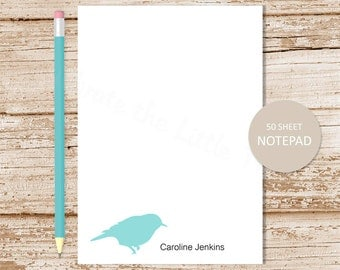 personalized notepad . bird notepad . bird note pad . personalized stationery . bird silhouette stationary