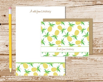 personalized pineapple stationery set . pineapples notepad + note card set . tropical fruit notecards note pad . stationary gift set