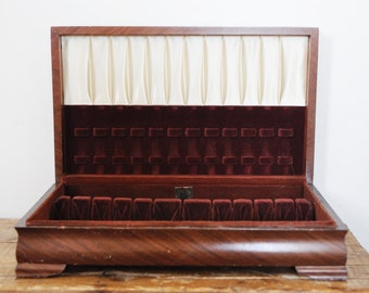 Empty Wooden Silver Plate Flatware Chest Vintage 1847 Rogers Wood Silverware Box Tarnish Proof Cloth