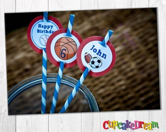 Sports Birthday, Striped Paper Straw, Straw Tags