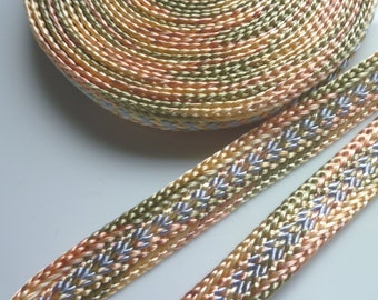 SALE multi coloured tonal art silk trim, peach green and gray , medium,  5 metres