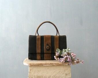 40% OFF SALE // Vintage 1960s Mod purse. 60s handbag. Brown black suede purse