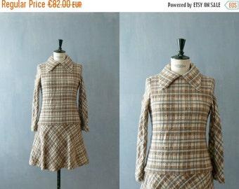 40% OFF SALE // Vintage plaid dress. 1960s dress. Drop waist dress