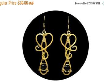 ON SALE Brass Onyx Earrings Black Earrings Dangle Earrings Wire Wrap Earrings Gold Earrings Long Earrings Vintage Earrings Elegant Earrings