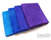 Hand Dyed Cotton Fabric - Set of 4 Fat Quarters - Color: Wild Blueberry