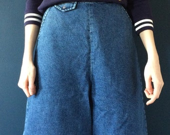 Indigo denim high waist culottes (s)