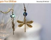 ON CLEARANCE Medium Dragonfly Vitrail Dangle Earrings