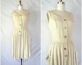 1950s vintage natural beige dress / simple earth neutral dress / small