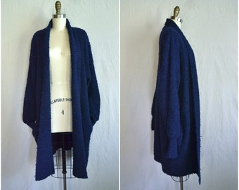 vintage oversized nubby navy blue cardigan / textured long sweater jacket / fits all