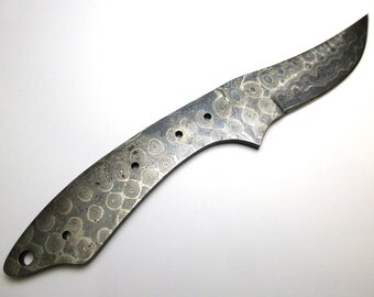 Damascus Knife Blade Blank Handle Handmade Maryland USA Steel Bolted Iron Syrian Technique DIY Knifemaker Lapidary Gift Masculine Survivor