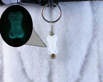 Give The Dog A Bone - collar charm pet jewelry for dogs pets, wire wrapped glow-in-the-dark pendant