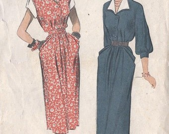 1950's Misses Dress Pattern, Very Short or Three Quarter Sleeves, Advance 5581