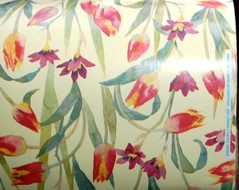 "French Old Stock, Department Store Wrapping Paper ~ ""Spring Tulips"" designed by Mary J. Woodin for FamilyLine Inc. ~ approx. 120 yards"