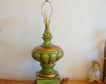 "Monumental Italian Green & Gold Ceramic Table Lamp ~ 36"" tall ~ V G cond. ~ Tuscan, Mediterranean, Spanish Revival, Gothic, Bohemian, Gypsy"
