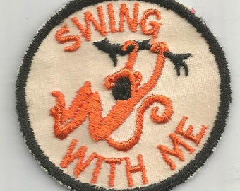 Swing With Me Monkey Swinging From Tree 1970's New Vintage Patch Applique