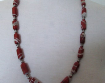 Red jasper  necklace 28 inches .