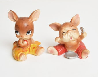 Vintage 60s Josef Originals Bunny Hutch Series Figurines Set of 2