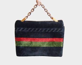 Vintage 60s CHENILLE Burnout Purse / 1960s Black Multi Stripe Velvet Bag