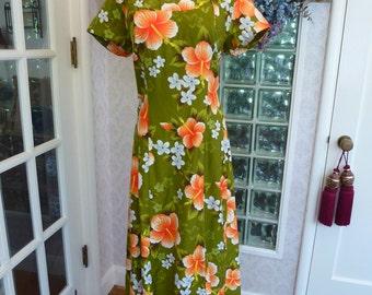 Vintage 70s 1970s Ui-Maikai Hawaiian Dress Olive Green Orange Flower Waterfall Train Princess Maxi M Medium