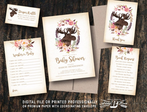 rustic moose baby shower invitation set printed invitation or