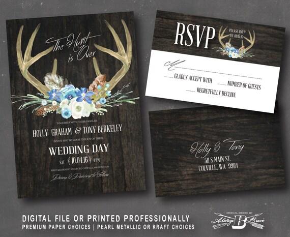 Deer Wedding Invitations: Rustic Wedding Invitation SET Deer Wedding Invitation