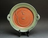 White stoneware serving platter handmade dish iron red 2778