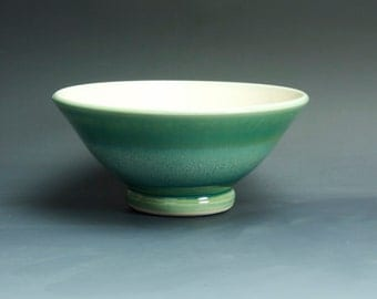 Reserved - Handmade  pottery bowl, jade green serving or salad bowl - 3320