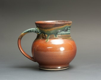 Handmade pottery coffee mug, ceramic mug, stoneware mug, teacup, 10 oz. tea cup brick red, 3032