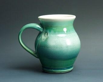 Pottery coffee mug, ceramic mug, stoneware tea cup jade green 14 oz 3248