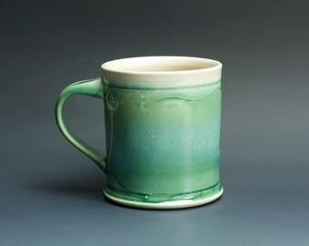 Pottery coffee mug, ceramic mug, stoneware tea cup jade green 14 oz 3330