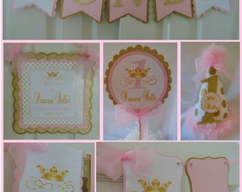 Pink and Gold Princess-Personalized 1st Birthday Party Package-Princess banner-Pink and gold princess baby shower