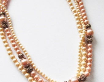 25% OFF SALE Vintage 1950's Beaded Necklace / Layered Creamy-Ivory & Mauve Pink Faux Pearl Choker Necklace Bridal Wedding