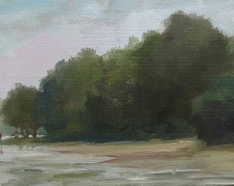 Coastal NC Landscape... Banks of New River... Original painting by Rosage... 6x12""