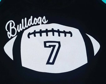 Football Bling Shirt, Personalized with your team name and number, football mom shirt, football shirt, football bling, football, spiritwear